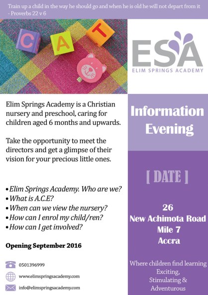 Flyer for Information Evening for Elim Springs Academy